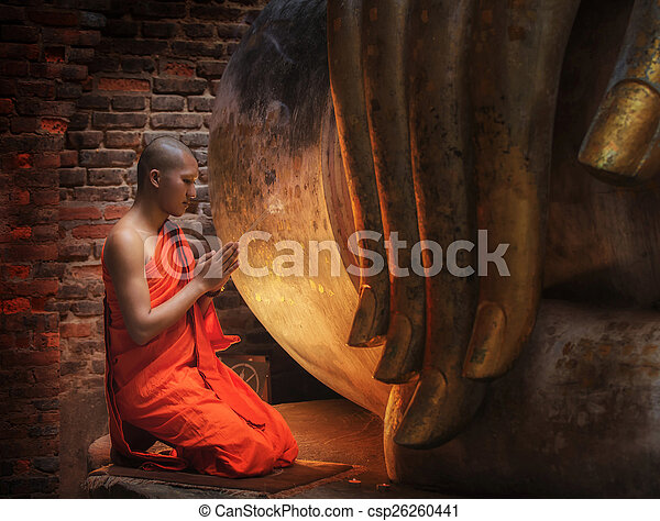 Buddhism Monk sit in the Temple