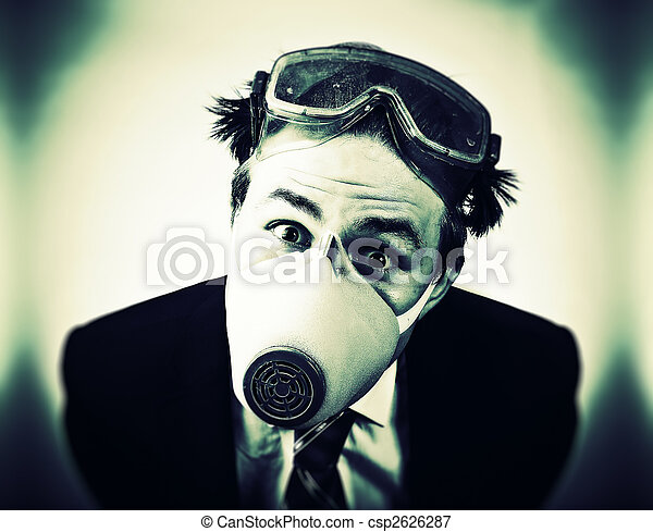 Crazy man in protective mask - csp2626287