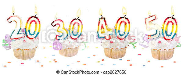 birthday number cupcakes banner - csp2627650