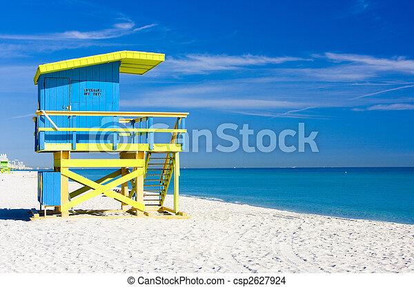 cabin on the beach, Miami Beach, Florida, USA - csp2627924