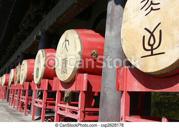 Traditional chinese drums at the Drum Tower - Xian China - csp2628178