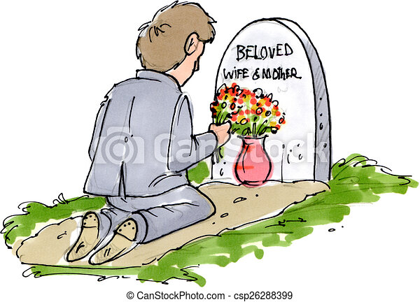 stock illustration of beloved lost a man sitting at his tombstone vector free tombstone vector art