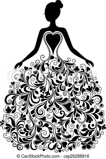 Vector Clip Art Of Vector Silhouette Of Beautiful Dress