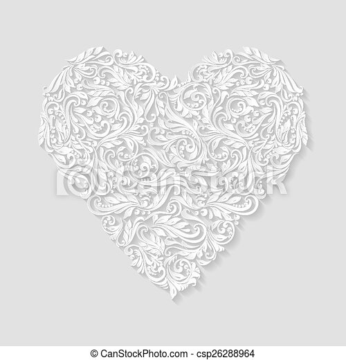 Decorated Heart Drawings Decorated Heart Csp26288964