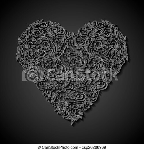 Decorated Heart Drawings Decorated Heart Csp26288969
