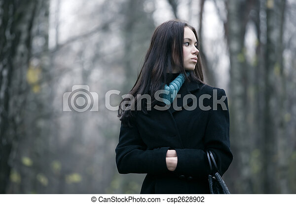 Lonely woman in a forest - csp2628902