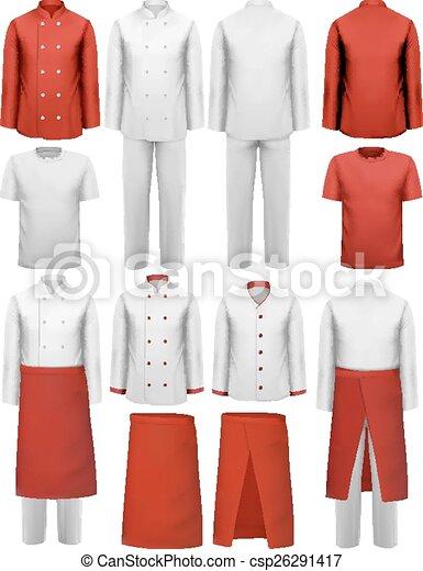 Vector clip art de conjunto vector uniformes for Uniformes de cocina precios