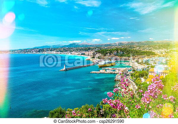 Nice city, french riviera, Mediterranean sea. Light leaks