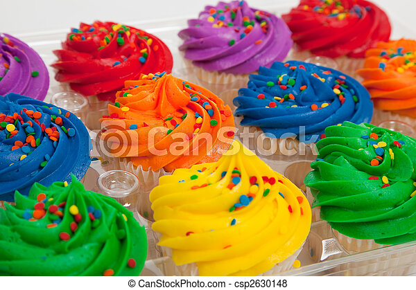 multi-colored cupcakes with sprinkles - csp2630148