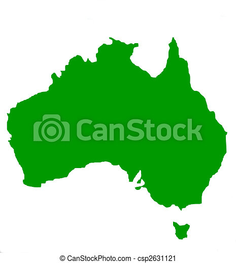 Outline map of Australia and Tasmania - csp2631121