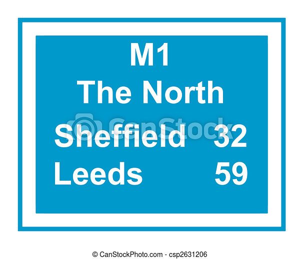 M1 the North motorway sign - csp2631206