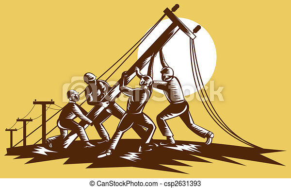 Team of linemen raising up electricity post done in reteo woodcut style. - csp2631393