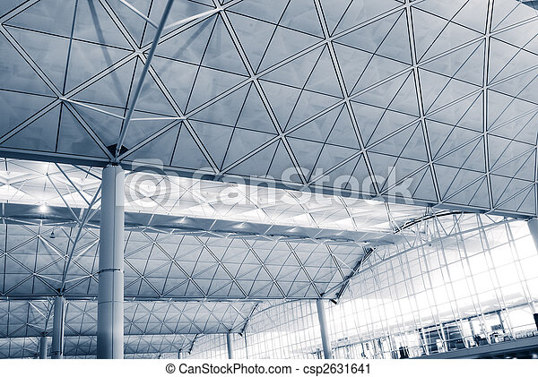It is the interior architecture structure of Hong Kong International  Airport. - csp2631641