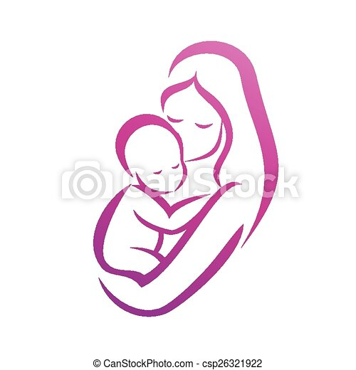 mother and her baby silhouette, isolated vector symbol - csp26321922