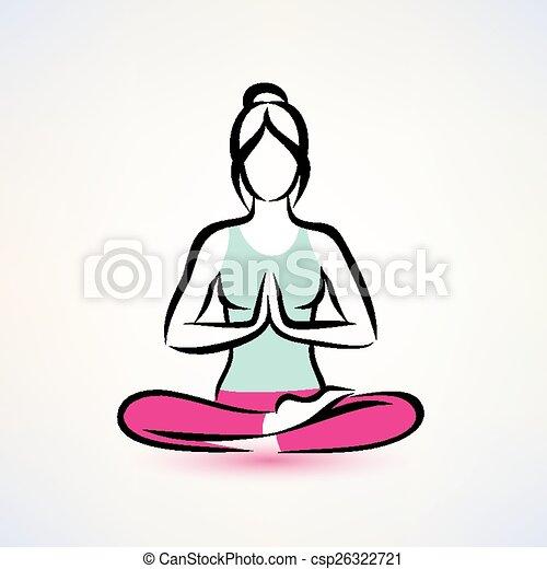 Vector Illustration of yoga lotus pose, women wellness ...
