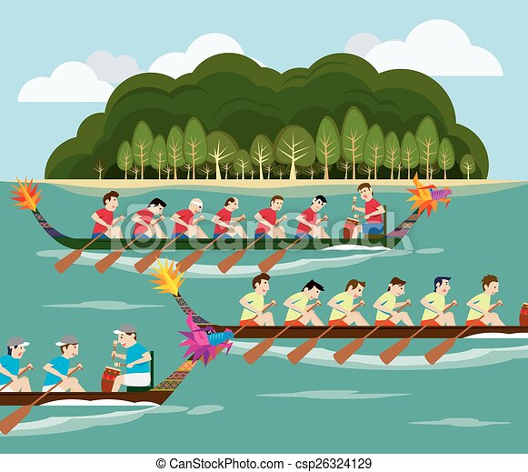 Dragon Boat Racing With Island View - Royalty Free Vector Image - csp26324129
