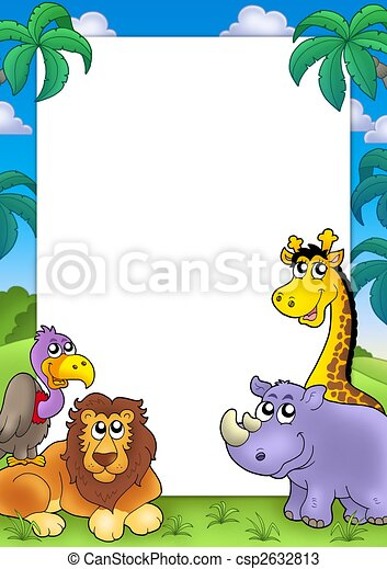 African frame with animals 3 - csp2632813