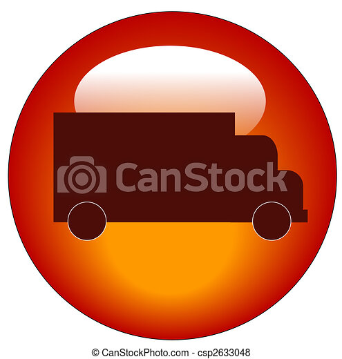 red web button or icon with a truck on it - transportation concept - csp2633048