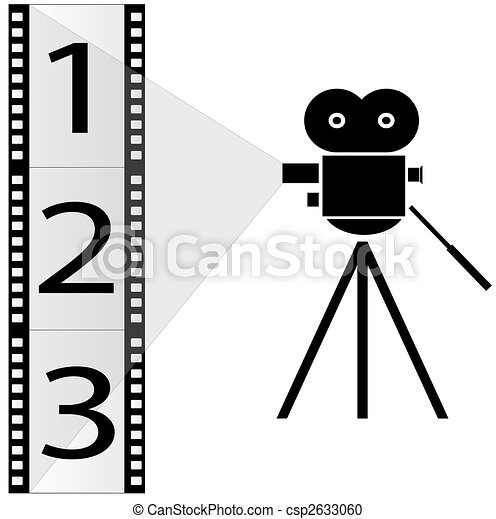 numbered film strip and movie camera with lights - csp2633060