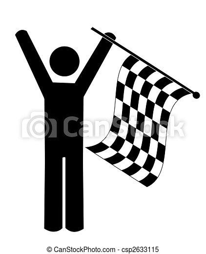 stick man or figure waving checkered flag - winner  - csp2633115