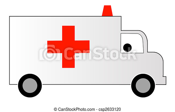 white ambulance with red cross and siren  - csp2633120
