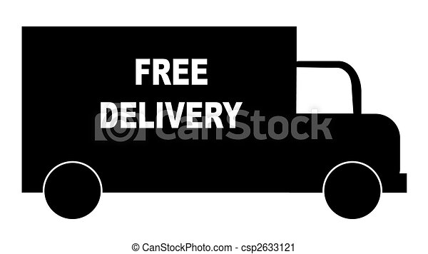 silhouette of truck with words - free delivery  - csp2633121