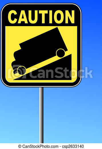 yellow caution steep grade down sign with blue sky background - csp2633140