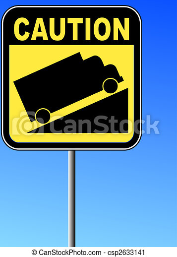 yellow caution steep grade up sign with blue sky - csp2633141