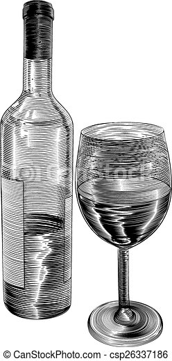 vector of vintage woodcut wine bottle and glass an