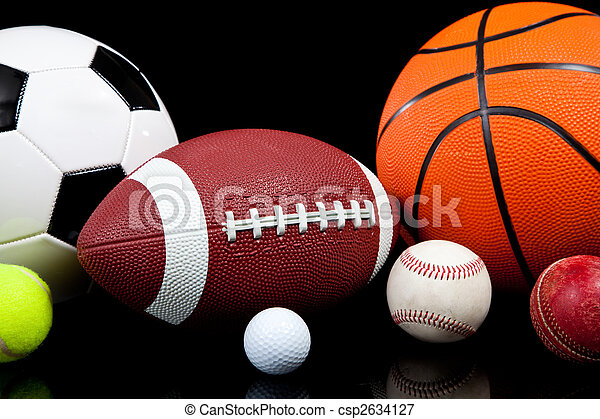 Assorted sports balls on a black background - csp2634127