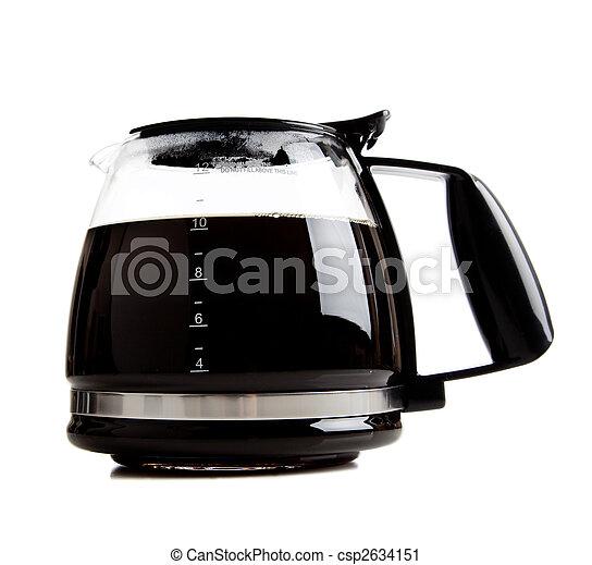 full black coffee pot on white - csp2634151