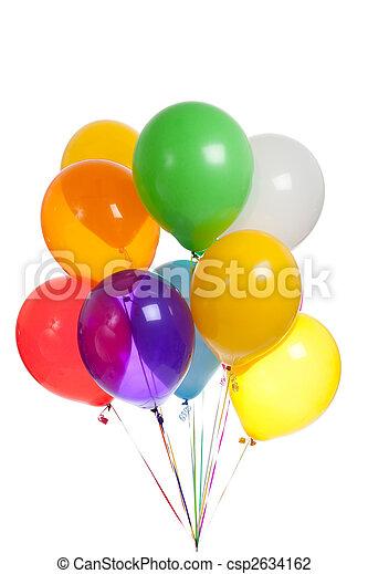 bianco, palloni, sfondo colorato - csp2634162