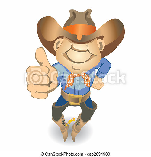 Thumbs Up Cowboy (vector) - csp2634900