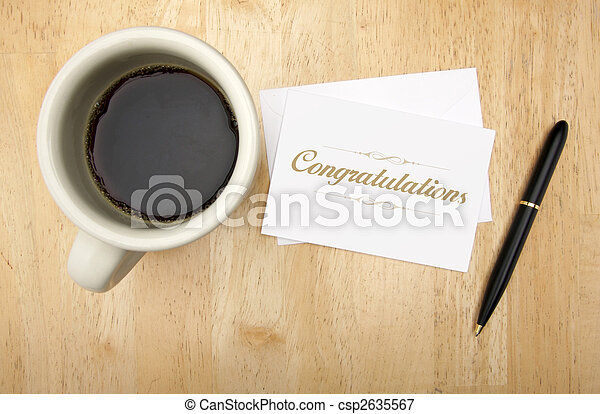 Congratulations Note Card, Pen and Coffee - csp2635567