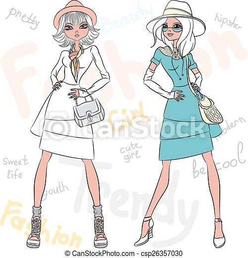 Vector beautiful fashion girls top models  - csp26357030