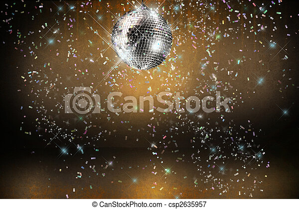 Disco ball with lights and confetti party background - csp2635957