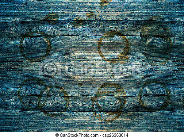 rustic blue wooden background with stains