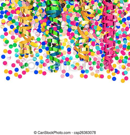 colorful confetti and shiny streamer
