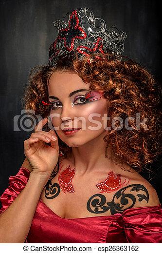 Beauty young woman, closeup, real b