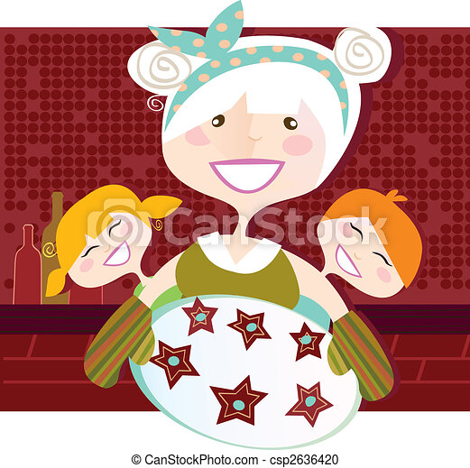Grandmother with sweet cookies - csp2636420