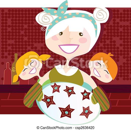 Grandmother with sweet cookies - csp2636420