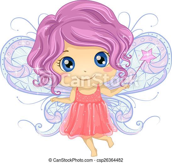 Stock Illustration of Kid Girl Fairy - Illustration of a Cute ...