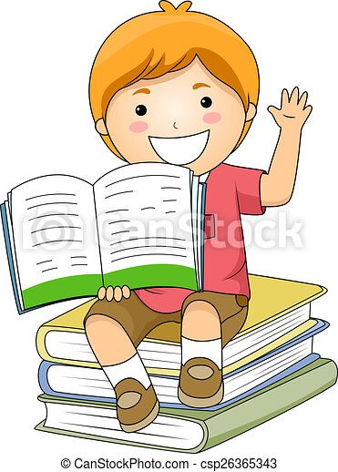 Drawing of Kid Boy Holding Book - Illustration of a Little Boy ...