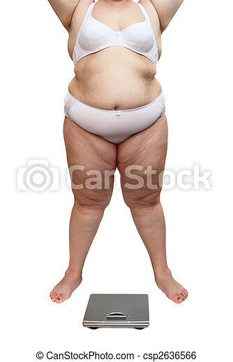overweight woman body and scales - csp2636566
