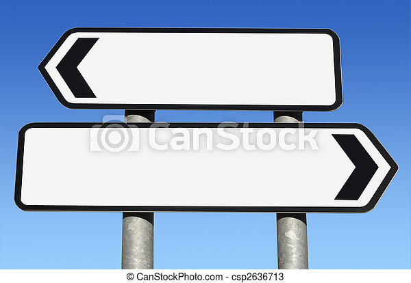 Two way blank road sign with copy space. - csp2636713