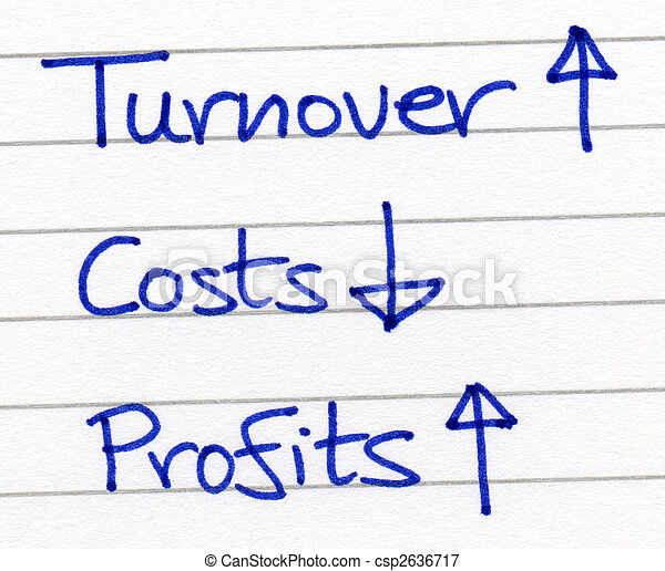 Increasing turnover and reducing costs increases profits. - csp2636717