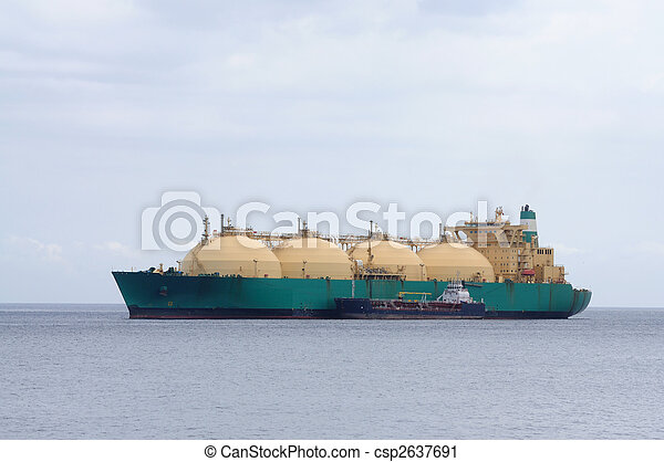 Gas tanker transporting liquefied natural gas - csp2637691