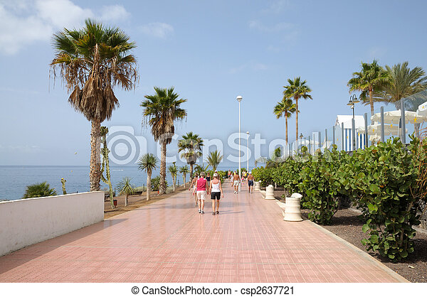 Stock photography of promenade in costa adeje canary for Decor international adeje tenerife