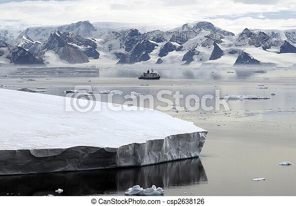 Antarctica and research vessel - csp2638126