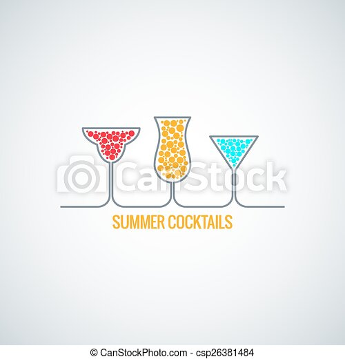 Cocktail Logo Vector Vector Summer Cocktails Menu